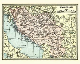 Jugoslavia, Yugoslavia, eastern Europe 1923 vintage map for instant digital download printable in pastel colors. Decoupage or invitations.