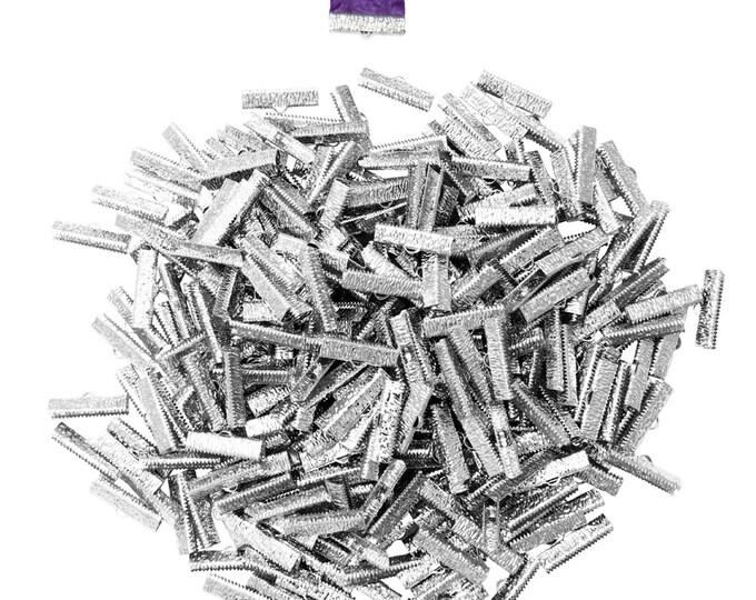 500 pieces  25mm  (1 inch)  Platinum Silver Ribbon Clamp End Crimps - Artisan Series