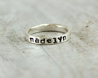 Custom-stamped Jewelry - Name Ring - Stacking Name Rings - Thick Ring - Chunky Silver Rings - Wide Stacking Personalized Rings - Stackable