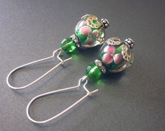 Floral Handblown Glass Green Crystal Dangle Earrings