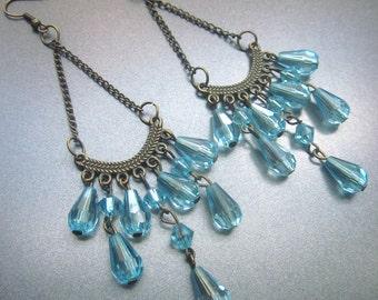 Chandelier Blue Dangle Earrings