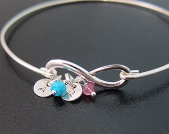 Mothers Day Bracelet, Infinity, Initials & Birthstones, Mothers Day Birthstone Bracelet for Mom, Gift for Grandma Birthstone Jewelry for Mom