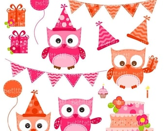 ON SALE Happy Birthday Owls - Digital clip art for all use, hot pink and orange owl clip art, cake, bunting, INSTANT Download Digital clip a