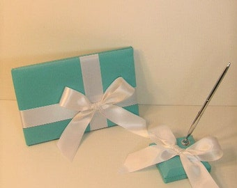 Wedding Guest Book and pen holder set Blue -made to order ,Custom Made