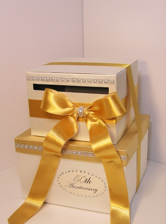 Wedding Card Box 2 tier Ivory and Gold Gift Card Box Money Box Holder ...