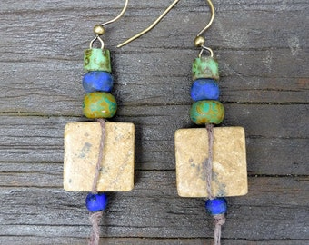 Riverstone Earrings - Tan Riverstone Squares, Green Czech Glass Picasso Beads, Cobalt Blue Glass Beads, Dangle Earrings