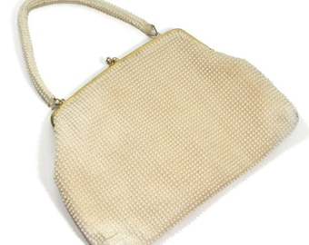 Vintage White Beaded Purse Beaded Pearl Handbag