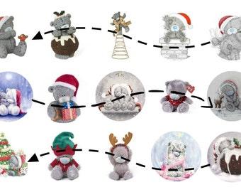 Christmas Teddy 1 Inch Circles