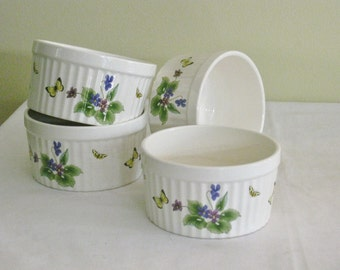 Setof Four 4 Floral Ramkins, Blue Floral Butterfly Green Leaves, Windemere Garden Floral Ramekin in Orignal Box Two sets available