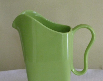 Vintage franciscan Pottery Pitcher, California Pottery Lime green Sprout Color Pitcher, Mid Century 1940s Modern Square Shape