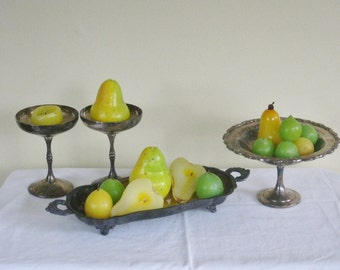 Vintage Silver Plate Grouping Serving Pieces, Two Pedestal Stems, Pedestal Dish, Footed Handles Tray,