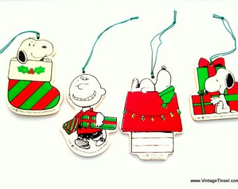 Vintage Snoopy, Charlie Brown Christmas Ornaments, Set of 4, Peanuts, United Feature Syndicate, 1958, Holiday Decor, Mid Century  (22-16)