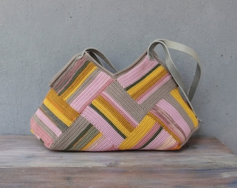 Crocheted Pastel Striped Bag with Leather Strap, Grey, Yellow Pink shades