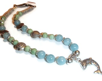 Blue and Green Beaded Beach Necklace. Dolphin Pendant. Sea. Fish. Shells. Ocean BE24