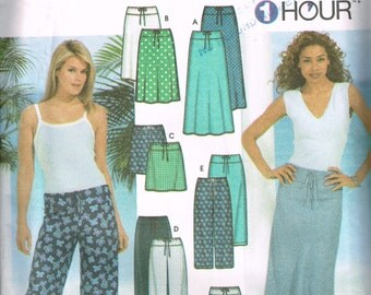 Womens Drawstring Skirt, Pants, Capris Pattern Simplicity 7229 Skirts and Pants in 3 Lengths Size 6-12 One Hour to Sew Uncut Sewing Pattern