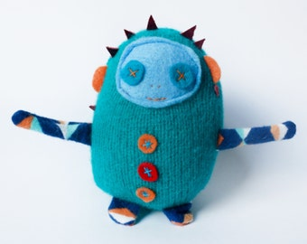 Mini Dolores Plush Doll in repurposed Teal Wool knit