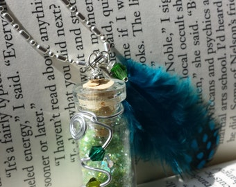 Fairy Glitter Bottle Necklace Green w/ Teal Blue Feather, Crystals & Wire - .925 Silver Chain