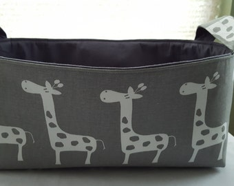 Long Diaper Caddy Fabric Organizer Basket Container Grey with White Giraffes Bin Storage Ready to Ship