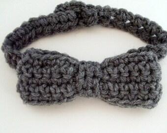 Baby Bowtie, Crochet Bow Tie, Gray, Newborn to Toddler, Boys Bow Tie, Photo Prop