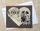 Love Themed Card with Photo of Two Children Kissing