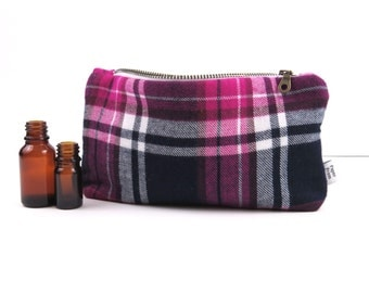 Plaid Essential Oil Case - Pink Navy - Pick Your Size - cosmetic bag zipper pouch essential oil bag