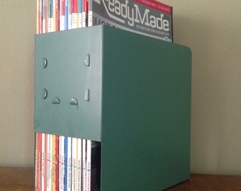 Vintage Pale Green Metal Magazine Holder. Set of 2. Industrial Office. School Library.