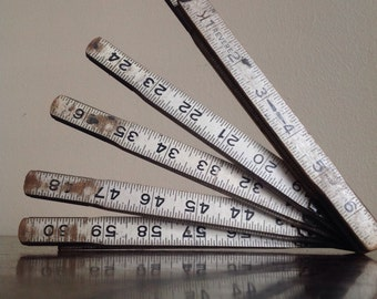 Industrial Chic. Vintage Folding Ruler. Revere Brand.