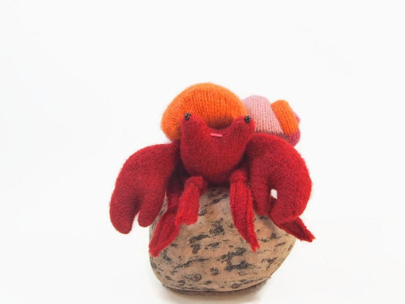 Hermit crab, waldorf toy, all wool toy, fish toy, stuffed toy plushie,