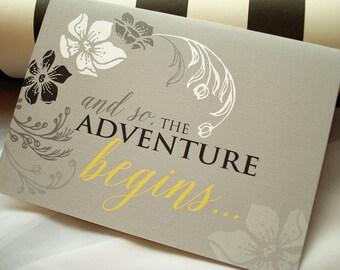 The Adventure Begins Vintage Floral Wedding Invitation - Sample