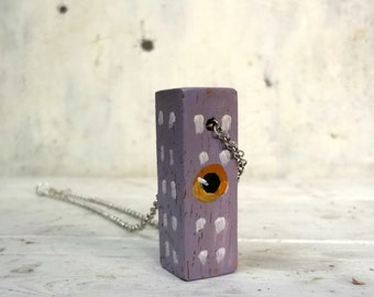 wooden strange lilac  house necklace with big eyes - ooak - wooden jewelry