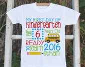 Kindergarten Shirt - First Day of School Outfit - Custom Stat 1st Day of Kindergarten Shirt - Back to School - First Day of School T-shirt