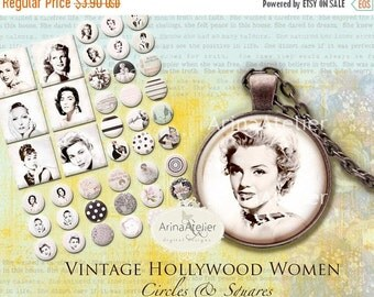 30% OFF SALE Vintage Hollywood women - Circle Microslides 1 inch - Circles Digital Collage Sheet for Jewellery, Magnets, Scrapbooking, and M