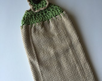 hand crochet kitchen hand towel topper with button cotton machine washable light brown olive green holder houseware home decor