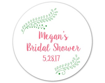 Custom Bridal Shower Favor Stickers - Personalized Shower Labels - Floral Stickers - Modern Bridal Shower Labels - Choose Your Colors