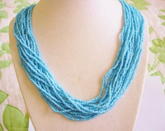 Multi Strand 16 Seed Bead Strand Blue Necklace