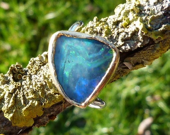silver and 24 ct finegold ring with 1 australian boulder opal