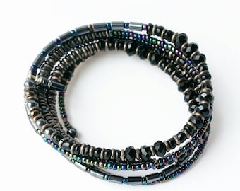 Bracelet Stack Bangle Black Crystal, Hemitite Fire Polished Seed Beads on Steel Memory Wire