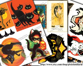 Halloween Cats Vintage Printable Digital Download