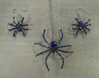 Rainbow AB Glass Beaded Halloween Costume Spider Necklace and Earrings Set