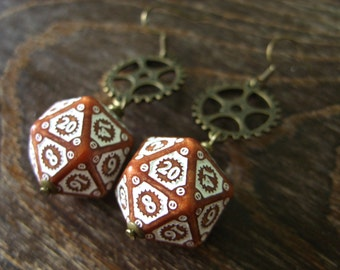 D20 steampunk dice earrings clockwork dice jewelry dnd dungeons and dragons toothed bar pathfinder dice jewelry steam punk earrings dice