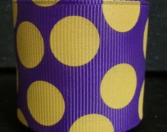 """New---1.5"""" Inch Grosgrain Ribbon---3 Yards---GUMDROP Dots---Purple with Yellow------Hair bow Making Supplies"""