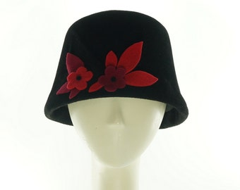 Floral BUCKET HAT - Cloche Hat - Black Hat - Felt Hat - Vintage Style - Color Block - Flowered Hat - Black Cloche Hat