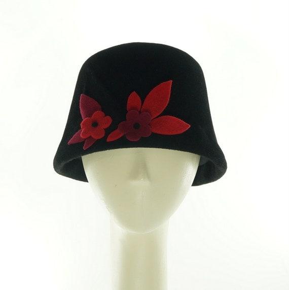 Floral BUCKET HAT - Cloche Hat - Black Hat - Felt Hat - Vintage Style - Color Block - Flowered Hat - Black Cloche Hat