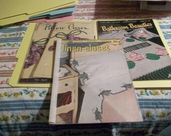 Set of three vintage crochet leaflets