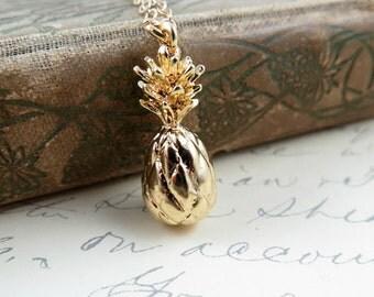 Gold Pineapple Necklace, Pineapple Charm, Pineapple Pendant, Hawaii Jewelry, Resort Jewelry