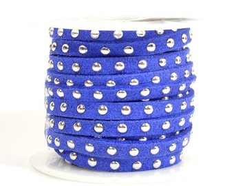 Faux Suede - 5mm Flat Studded - Sapphire - 5 Feet