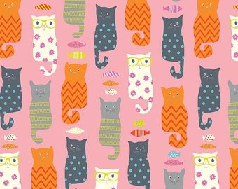 SALE - 1 yard - Smarty Cats in Pink, Riley Blake designs