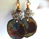 Earthy Enamel Earrings, Brown Abstract Earrings, Boho Chic Earrings, Lampwork Glass Earrings, Boro Earrings, Unique Artisan Jewelry