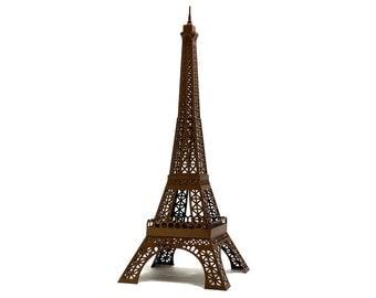 Eiffel Tower - hand assembled architectural paper replica of famous Paris landmark || 40 cm - 16 inches high || bronze color metallic paper