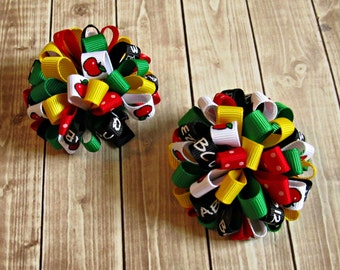 Girls Back To School Bows- Red Black Green Yellow- Baby Bows- Toddler Bows- Pigtail Bows- Set of Two- Loopy Bows